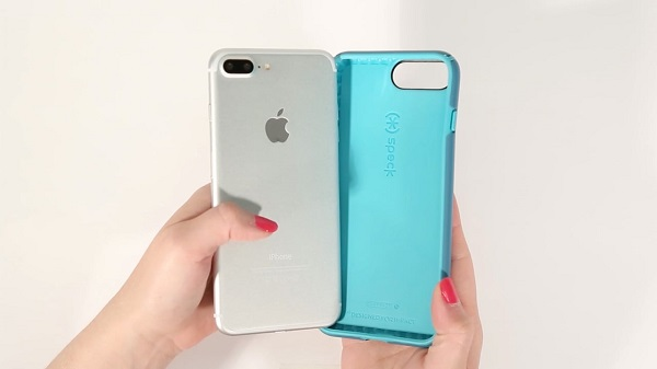 iPhone 7 with a blue case