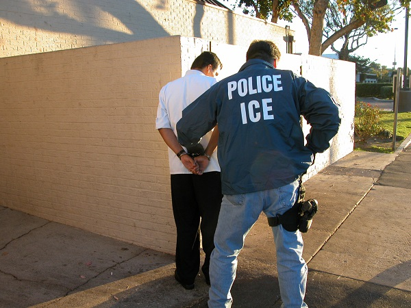 Immigration and Customs Enforcement agent and illegal immigrant