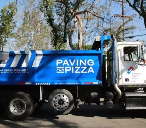 Domino's Pizza Paving For Pizza truck