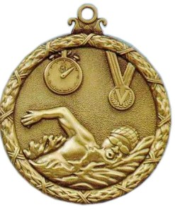 swimming antique medal
