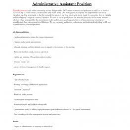 AR Admin Asst Position