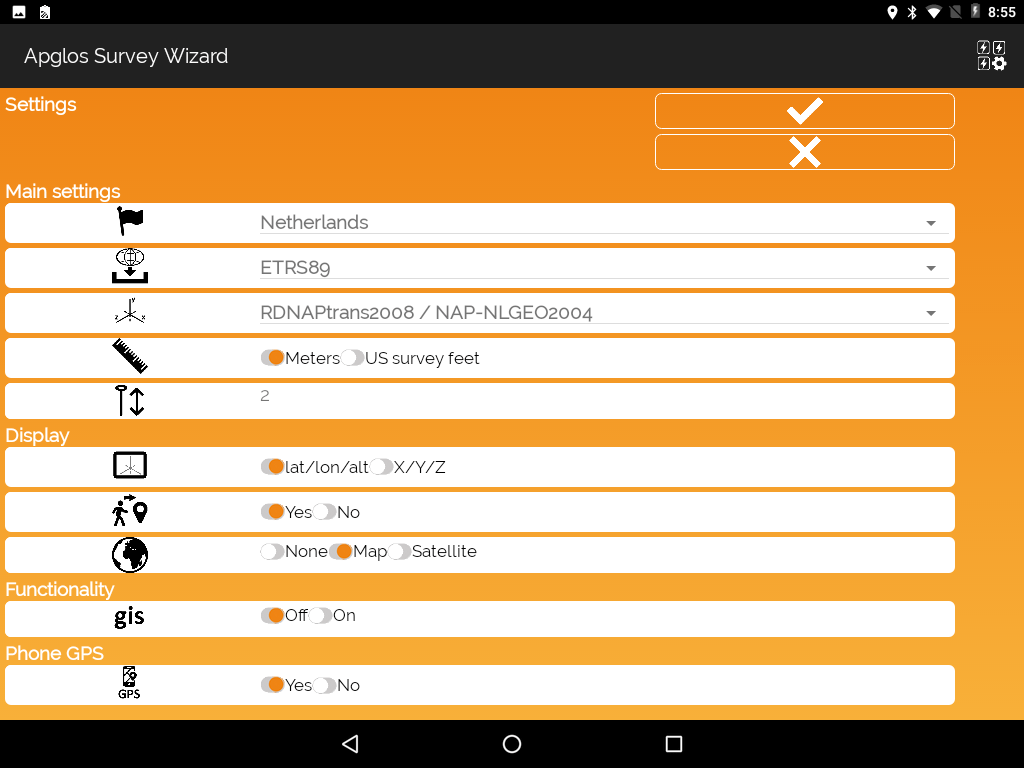 Settings screen with changed antenna height