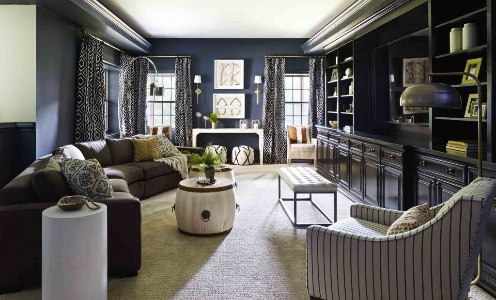 yellow upholstered dining room chairs good place to buy office nate berkus presents a rich color palette of blue, gold and coral in the home iyanla vanzant ...