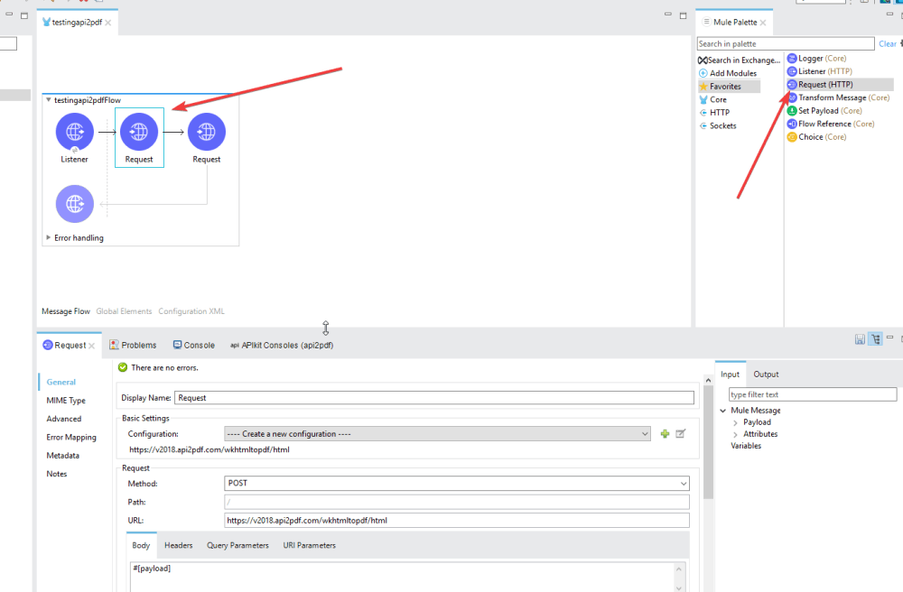 medium resolution of drag over a request trigger from your list of mule connectors and attach it to your listener we will use this request to make the call to the api2pdf com