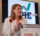 Elvira Rodriguez, presidenta de la CNMV, durante su intervención en el Curso de Verano organizado por APIE en la Universidad Internacional Menéndez Pelayo, de Santander.