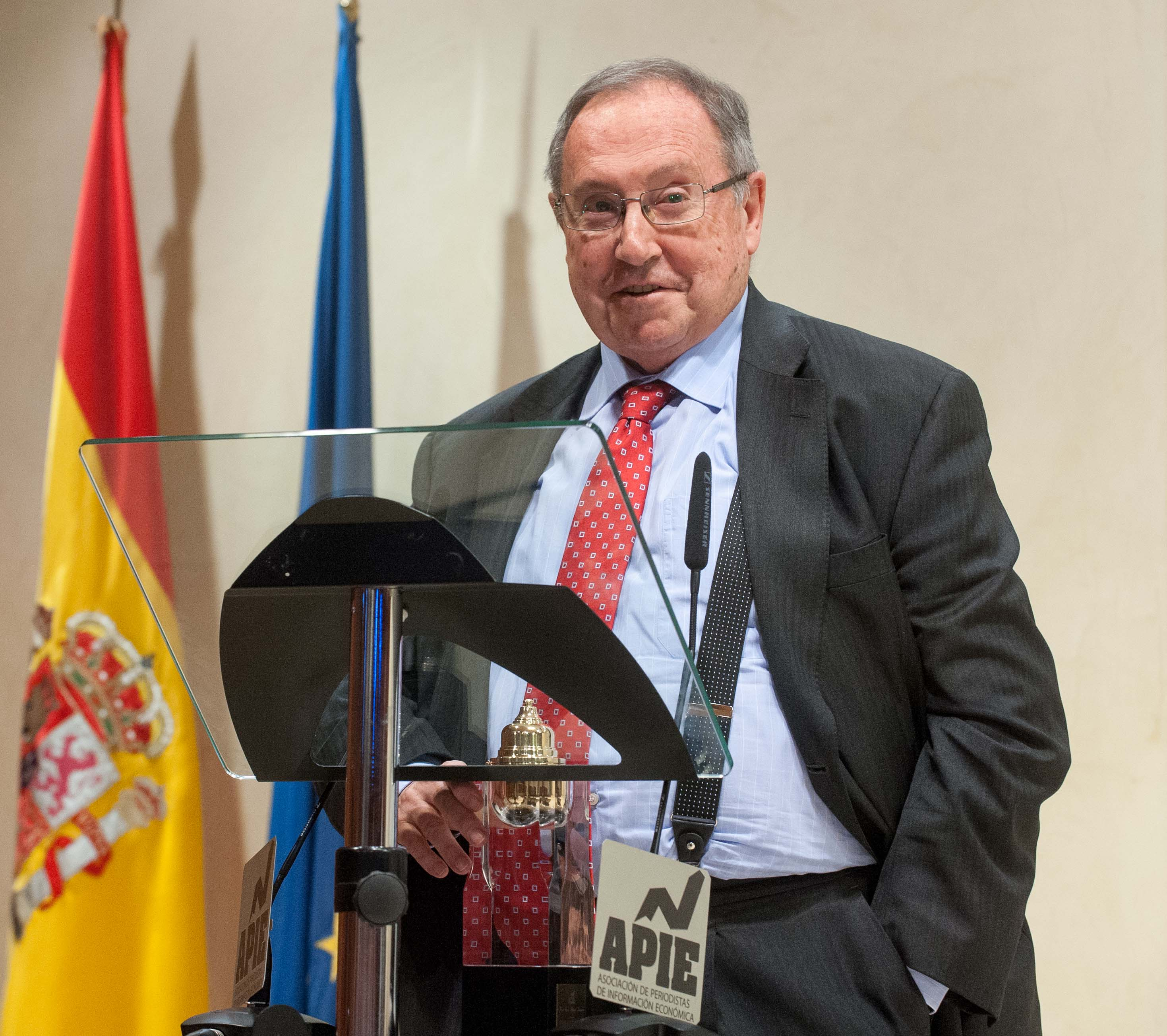 Jose Luis Bonet, presidente de Freixenet y de la Cámara Oficial de Comercio, Industria, Servicios y Navegación de España, durante sus palabras de agradecimiento tras recibir el premio Tintero.