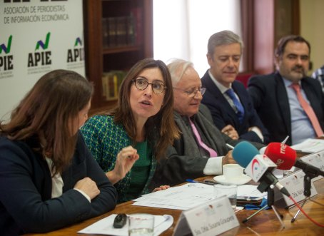 Nuria Vilanova, presidenta de Atrevia y copresidenta del Foro del Buen Gobierno y Accionariado, durante la presentación del XI Informe sobre Juntas Generales de las Empresas del Ibex.