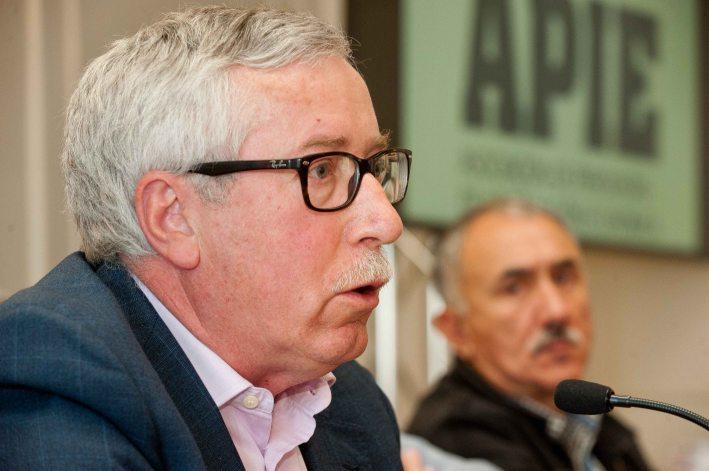 Ignacio Fernandez Toxo, secretario general de Comisiones Obreras , durante su intervención en el curso de verano organizado por la APIE en la Universidad Menéndez Pelayo de Santander.