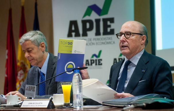 John de Zulueta, presidente del Círculo de Empresarios, durante la presentación del Informe Anual de la Empresa Mediana Española.