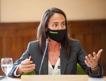 María Prado, Responsable de Energía Ciudadana y Transición Ecológica de Greenpeace España, durante su intervención en el debate sobre Transición Energética organizado por la APIE en la Universidad de Alcalá de Henares