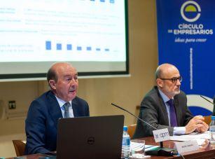 Miguel Iraburu, presidente del grupo de trabajo de la encuesta, y Manuel Pérez-Sala, Presidente del Círculo de Empresarios, durante la presentación de la Encuesta Empresarial Círculo 2021.