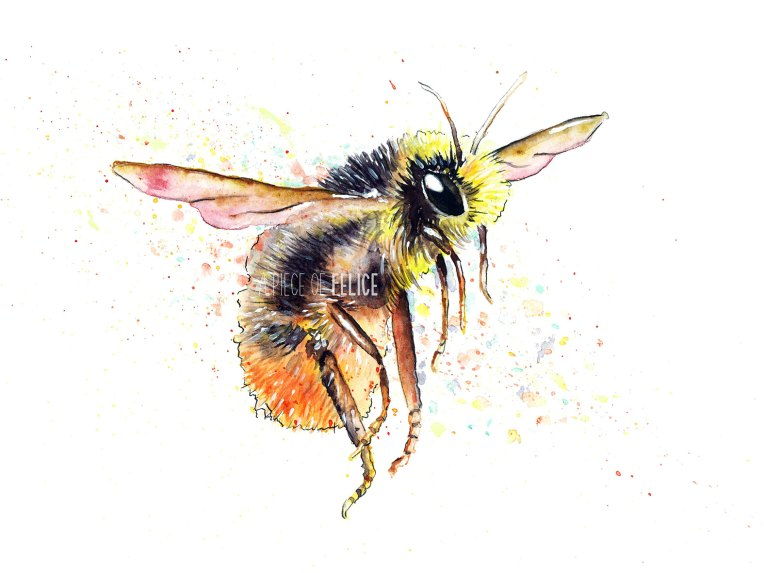 Bumblebee Watercolor Painting 18 X 24 Cm 7 95