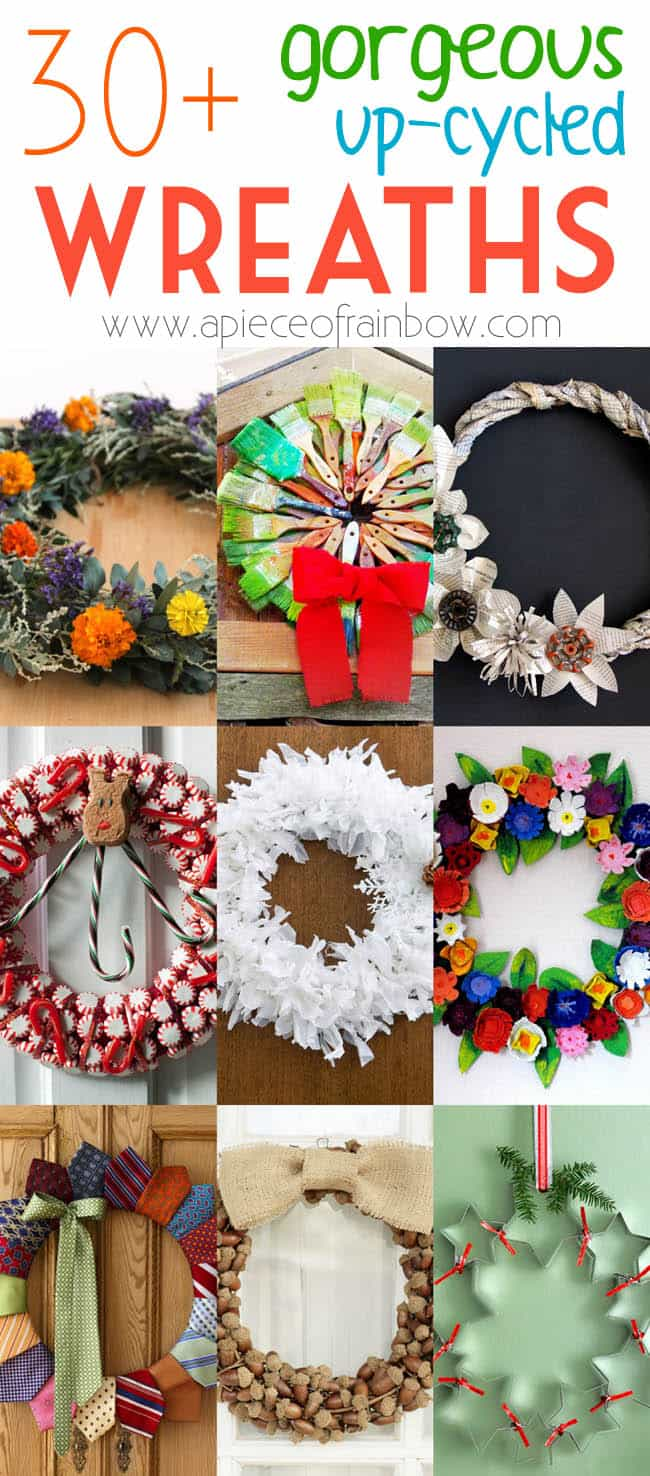 30 upcycled christmas wreaths apieceofrainbowblog 171 - 16 Favorite Easy Gift Wrapping Ideas (Many are Free!)