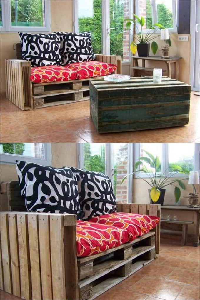 diy pallet living room furniture help decorating my 12 easy sofas and coffee tables to in one afternoon a simple sofa with stacked pallets