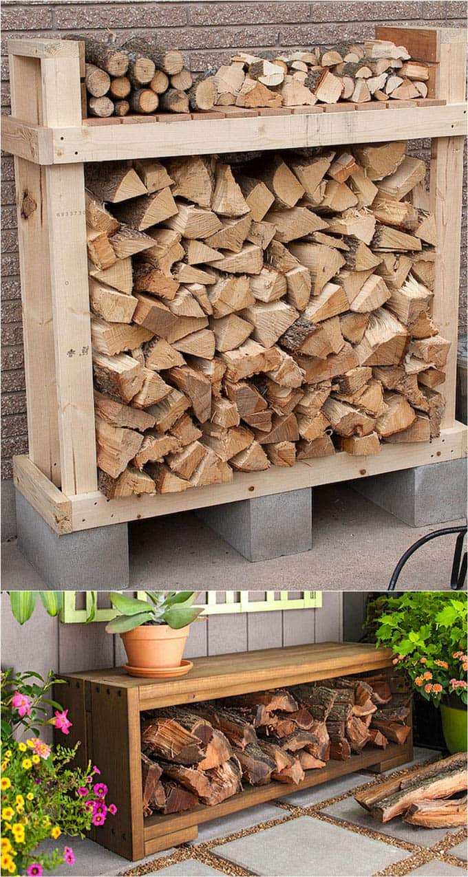 living room firewood holder settee 15 amazing rack best storage ideas a piece of rainbow and attractive for indoors outdoors from easy diy