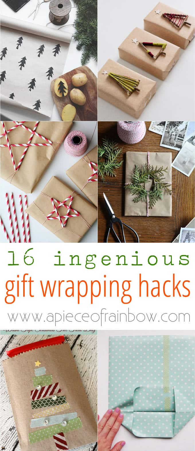 16 gift wrapping hacks apieceofrainbow 10 - 16 Favorite Easy Gift Wrapping Ideas (Many are Free!)
