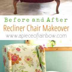 Diy Living Room Chair Cover Paint Ideas Fabric Makeover Before After A Piece Of Rainbow Dramatic Transformation And Detailed Tutorial On How To An Upholstered Recliner
