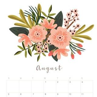 Printable August 2018 Calendar Monthly Planner Flower