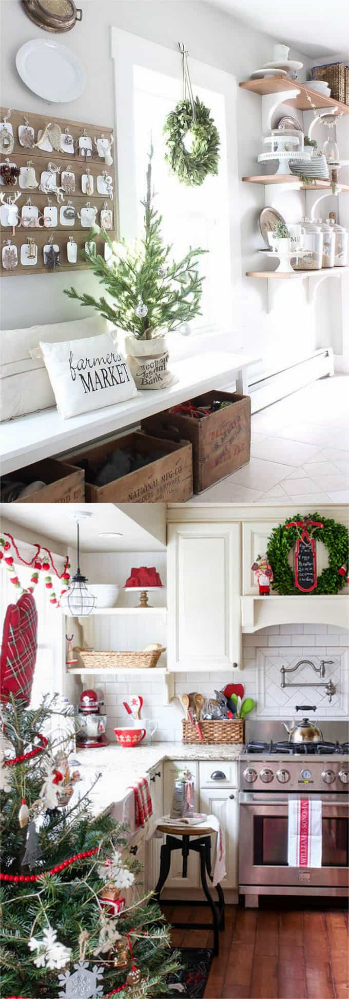 christmas decorating ideas for small living rooms images of room wall colours 100 favorite every in your home notice the beautiful details these two kitchens wreaths on windows and cabinet doors white red kitchen towels piece