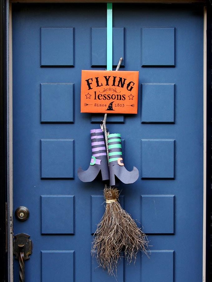 magical witches legs DIY Halloween door decoration