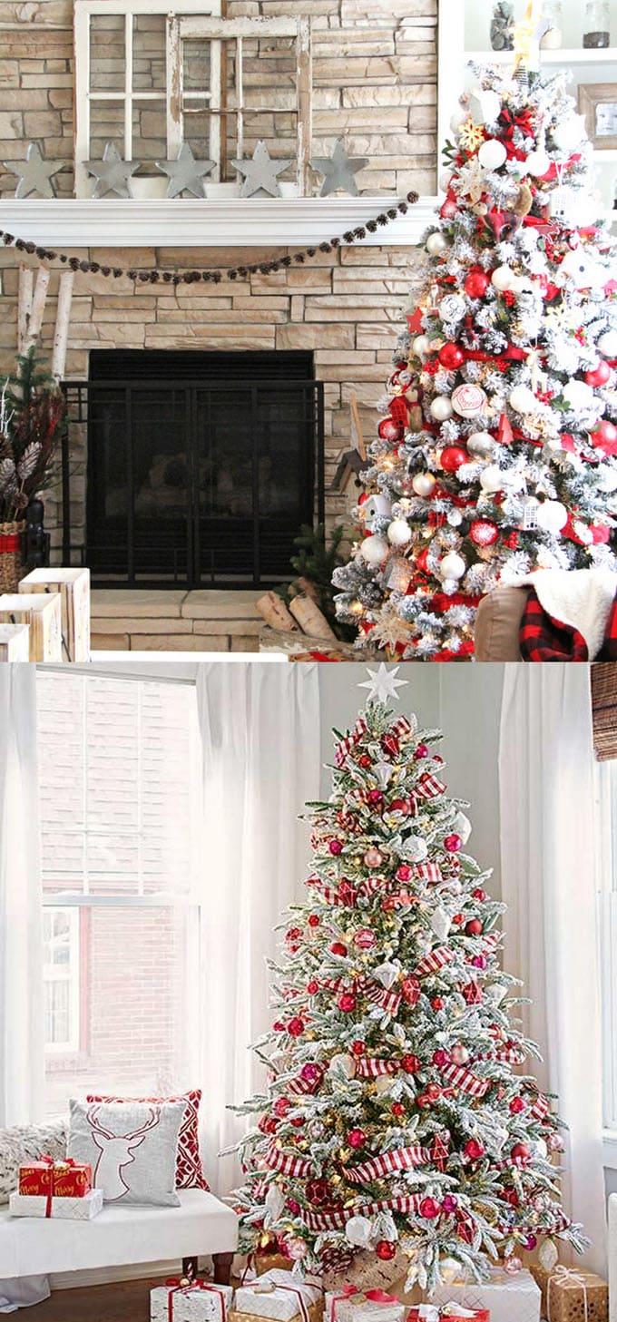 christmas tree decorating ideas elegant decorations how to decorate white red ribbon tutorials apieceofrainbow 11 - 42 Gorgeous Christmas Tree Decorating Ideas { & Best Tutorials!}