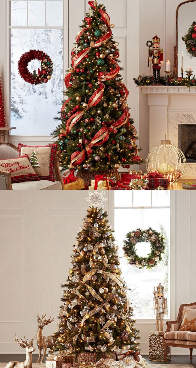 christmas tree decorating ideas elegant decorations how to decorate white red ribbon tutorials apieceofrainbow 7 - 42 Gorgeous Christmas Tree Decorating Ideas { & Best Tutorials!}