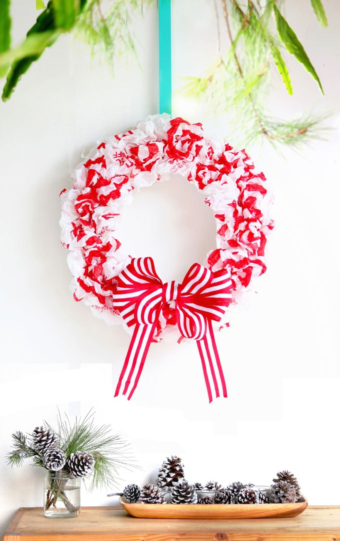 diy christmas candy cane wreath upcycled plastic bags repurposed christmas decorations crafts apieceofrainbow - 42 Gorgeous Christmas Tree Decorating Ideas { & Best Tutorials!}