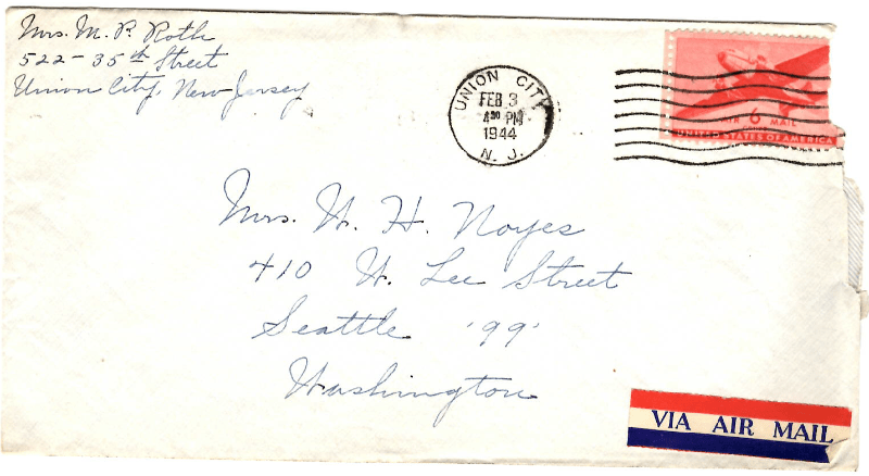 Letter from Mrs. Mary Philomene Roth of Union City, New Jersey