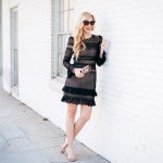 black lace holiday party dress