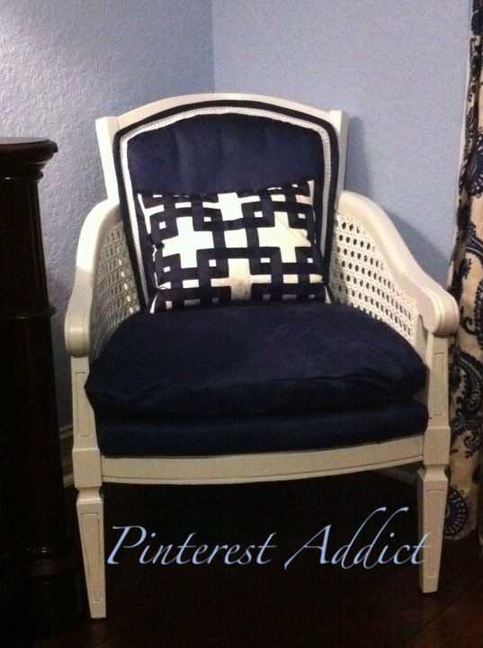 After - my first attempt at reupholstering a chair.