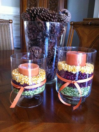 Easy fall decor - dried beans and candles in hurricane vases