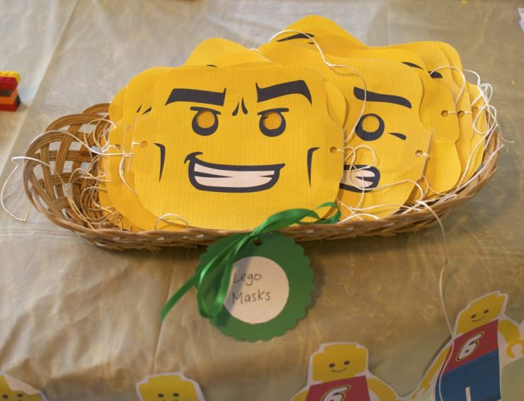 Lego Masks - all with different expressions! - Lego Theme Birthday Party