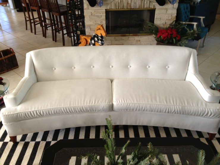 white vintage couch sofa hollywood regency curved sofa