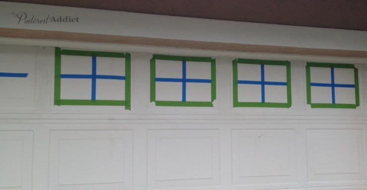 Faux Carriage Garage Door - Frog Tape around the outside to keep the lines straight