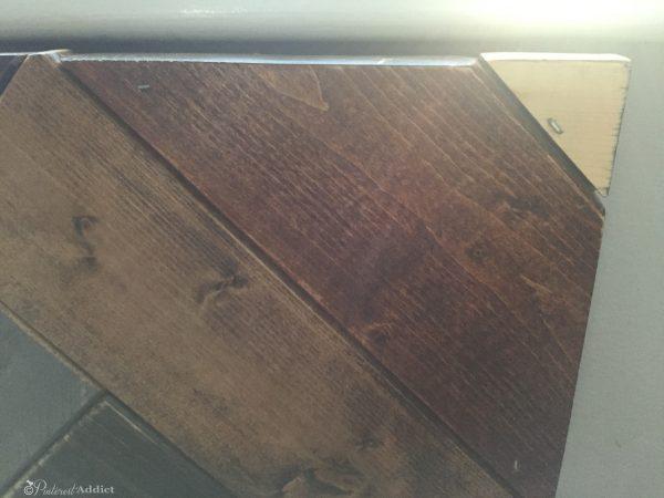 staples in herringbone headboard