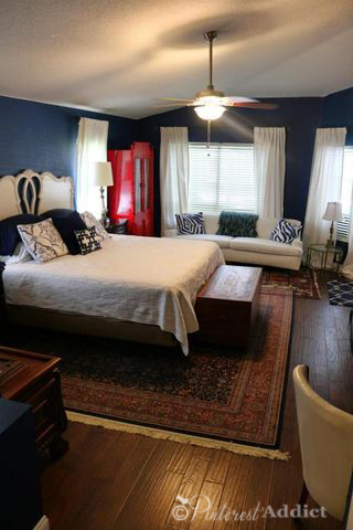Master Bedroom - navy blue, white and red