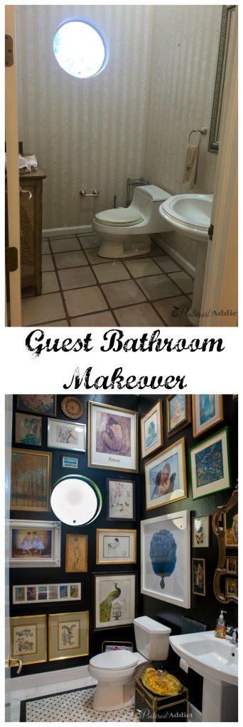 Guest Bathroom before and after with black walls, art gallery