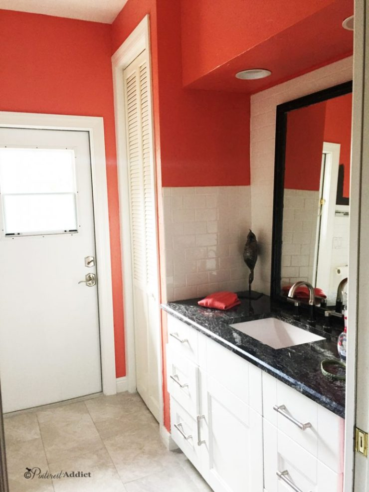 Why You Shouldn't Pick a Paint Color from Pinterest - Coral Reef - Sherwin Williams in the bathroom