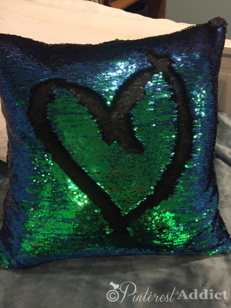 Mermaid sequin pillow - blue green and black