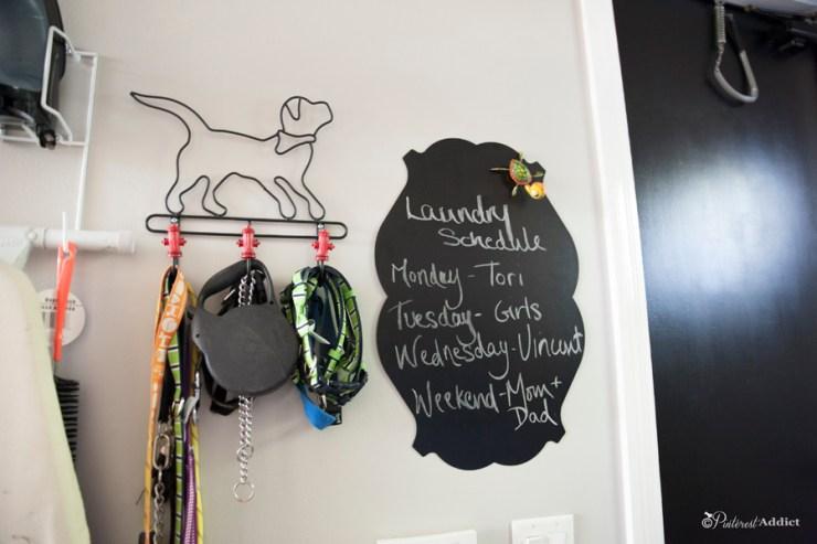 laundry schedule - magnetic chalk board - leash hook
