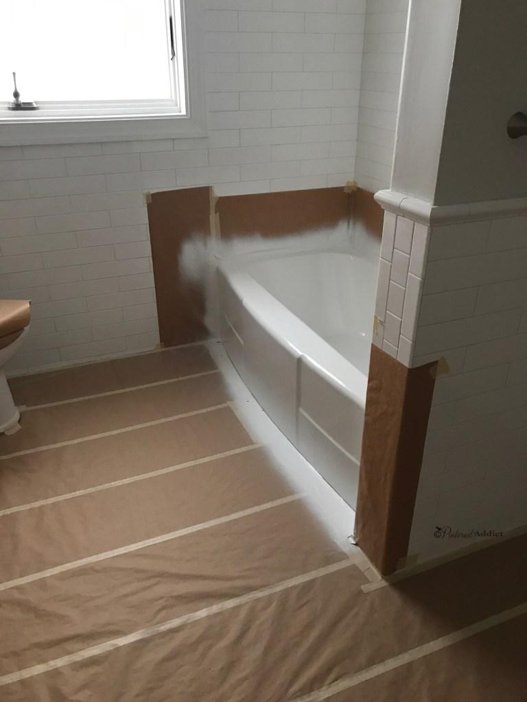 re-glazed vintage tub subway tile wainscoting