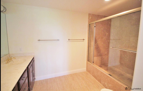 girls bathroom before super tall shower step