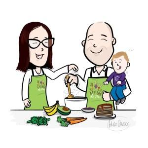 Ilustração a cores onde se pode ver a mãe e o pai de avental, a cozinhar, e o filho do casal está ao colo do pai.