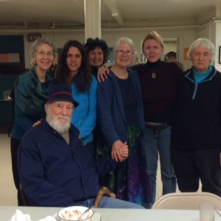 Activist gather to send Peggy Gish off to do peacebuilding work in Nigeria. From left to right: Kathy Devecka, Pete Hill, Mara Giglio, Marty Zinn, Peggy Gish, Melissa Wales & Jan Griesinger. Photo by Arlene Sheak.