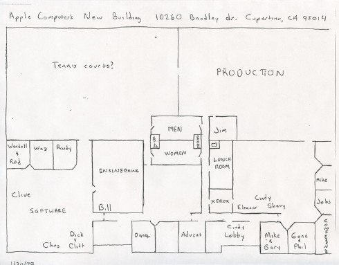 Blueprint of Apple's offices at 10260 Bandley Drive