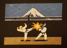 Glenda Adams' needlepoint: Karateka
