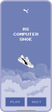 8-bit shoe game title screen