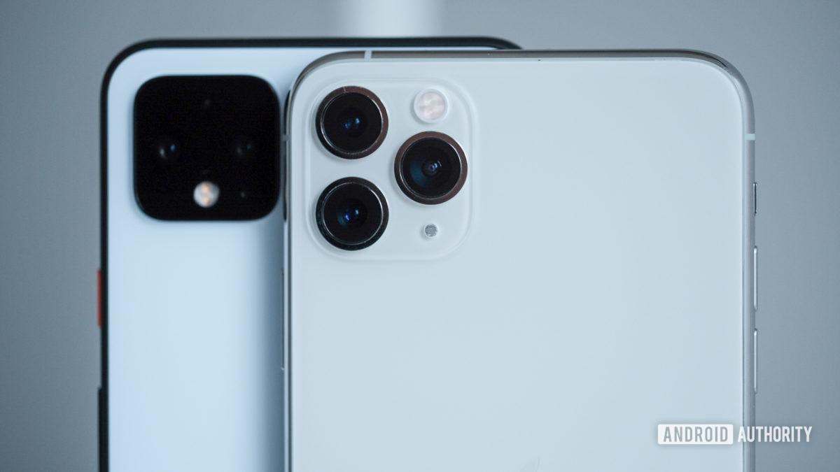 Câmeras Pixel 4 XL e iPhone 11 Pro Max
