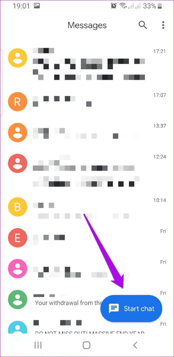 Mensagens do Android Rcs Iniciar bate-papo