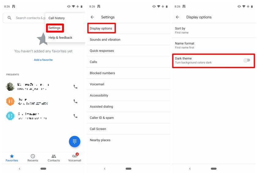 Tema escuro do Google Phone